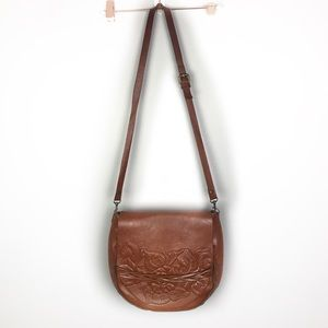Patricia Nash Cavallina Tooled Leather Saddle Bag